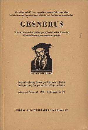 Das Homunculus-Motiv bei Paracelsus und Goethe, in: GESNERUS, 1-2/1963. Vierteljahresschrift, ...