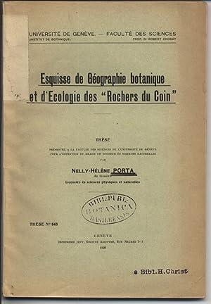"""Esquisse de Geographie botanique et d'Ecologie des """"Rochers du Coin"""". (Universite de..."""