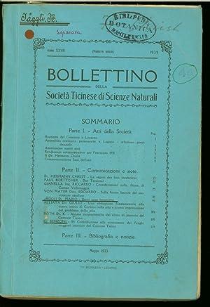 Bollettino della Societa Ticinese di Scienze Naturali, Anno XXVII (Numero Unico) 1932. (Includes ...