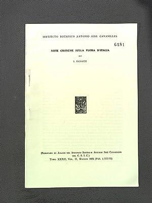 Note Critiche sulla Flora d'Italia Anales del: Pignatti, S.: