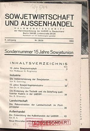 SOWJETWIRTSCHAFT UND AUSSENHANDEL. HALBMONATSSCHRIFT der Handelsvertretung der UdSSR in Deutschland...