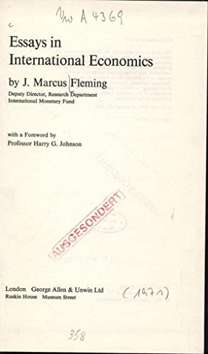 Essays in International Economics.: Fleming, J. Marcus: