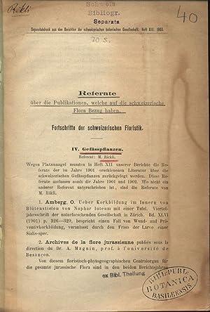 Fortschritte der schweizerischen Floristik. II. Gefässpflanzen. Referate über die ...