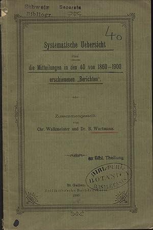 """Systematische Uebersicht über die Mitteilungen in den 40 von 1860-1900 erscheinenen """"..."""