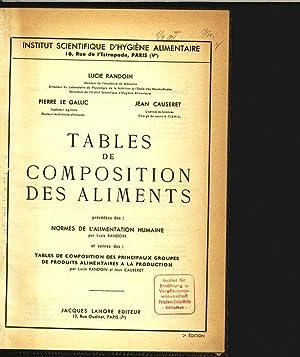 Tables de composition des aliments. Precedees des: Randoin, Lucie, Pierre