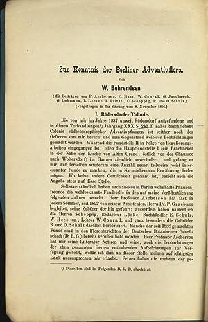 Zur Kenntnis der Berliner Adventivflora. Mit Beiträgen: Behrendsen, W.: