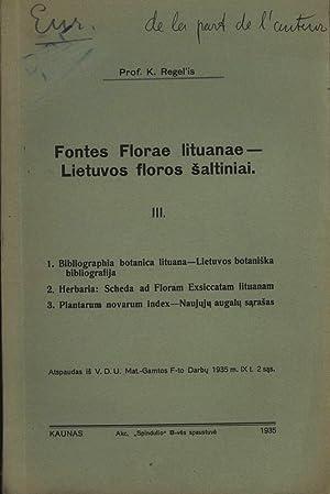 Fontes Florae lituanae - Lietuvos floros šaltiniai.: Regelis, K.: