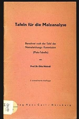 Tafeln für die Malzanalyse. Berechnet nach der Tafel der Normaleichungs-Kommission (...