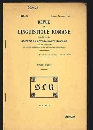 REVUE DE LINGUISTIQUE ROMANE, Juillet-Décembre 1968. PUBLIÉE