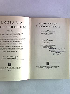 Glossary of Financial Terms in English-French-Spanish-German. Glossaria Interpretum, G 10.: Horn, ...