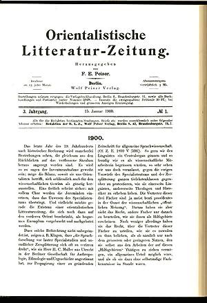 1900, in: ORIENTALISTISCHE LITERATURZEITUNG (OLZ), 1/1900. Monatsschrift für die ...