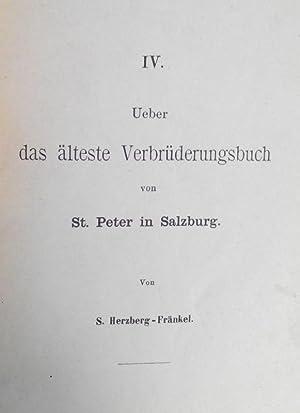Ueber das älteste Verbrüderungsbuch von St. Peter in Salzburg. (Separatdruck aus: Neues ...