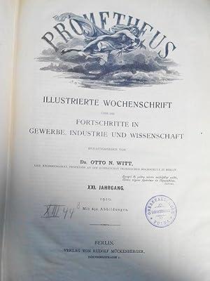 PROMETHEUS. XXI. Jahrgang. 1910. In einem Band. Mit Beilage zum Prometheus (Nr. 1041 bis Nr. 1092)....