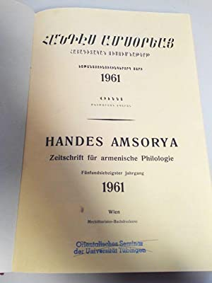 Handes Amsorya. Zeitschrift für armenische Philologie. 75. Jahrgang (1961). Vollständiger...