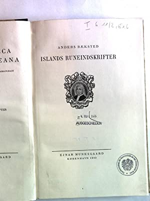Islands Runeindskrifter. Bibliotheca Arnamagnaeana, Volume II.: Baeksted, Anders: