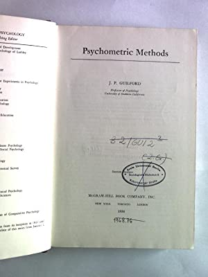 Psychometric Methods. Second Edition.: Guilford, J. P.: