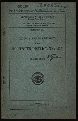 Geology and ore deposits of the rochester district, Nevada. Department of the interior united ...