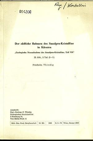 Der südliche Rahmen des Saualpen-Kristallins in Kärnten. �Geologische Neuaufnahme des ...