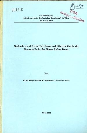 Nachweis von tieferem Unterdevon und höherem Silur in der Rannach - Facies des Grazer Pal&auml...