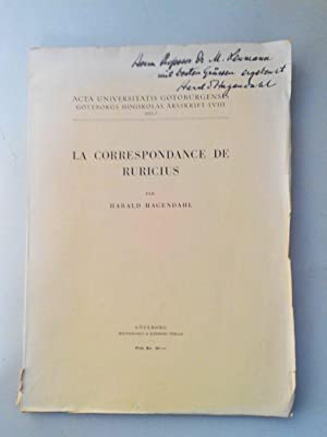 La correspondance de Ruricius. SIGNED BY AUTHOR! Göteborgs högskolas arssrift LVIII.: ...