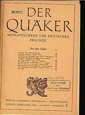Glückliche Religion, in: Der Quäker, Monatsschrift der Deutschen Freunde, Nr. 8, August ...