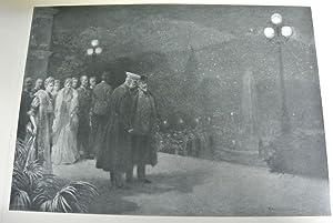 Der Kaiser mit König Eduard und Gefolge betrachten auf der Terrasse des Kursalons in Bad Ischl...