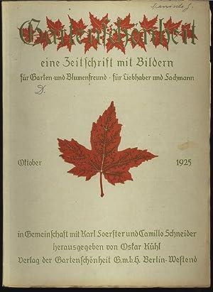 GARTENSCHÖNHEIT, Oktober 1925. Eine Zeitschrift mit Bildern, für Garten- und Blumenfreund...
