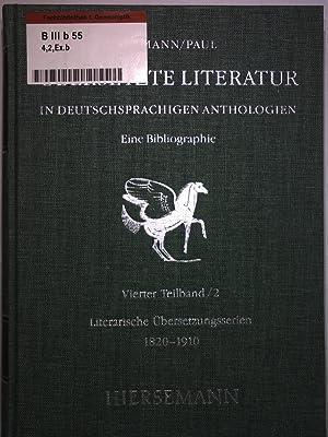 Übersetzte Literatur in deutschsprachigen Anthologien. Eine Bibliographie. 4. Teilband / ...