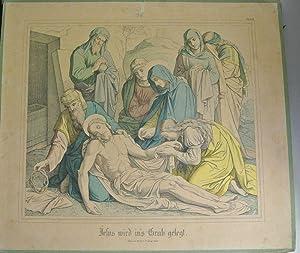 JESUS WIRD INS GRAB GELEGT. Kolorierte Bildtafel Nr. 36 aus: Bilder-Bibel. Vierzig kolorierte ...