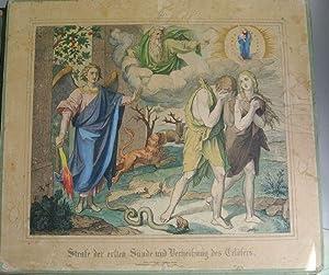 STRAFE DER ERSTEN SÜNDE UND VERHEISSUNG DES CHRISTUS. Kolorierte Bildtafel Nr. 2, aus: ...