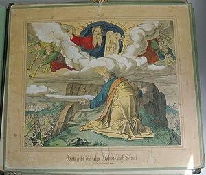 GOTT GIBT DIE ZEHN GEBOTE AUF SINAI. Kolorierte Bildtafel Nr. 12, aus: Bilder-Bibel. Vierzig ...