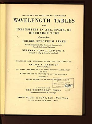 Wavelength Tables with Intensities in Arc, Spark,: Harrison, George R.: