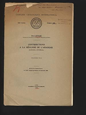 Contributions a la geologie de l Ahaggar: Bütler, Henri,