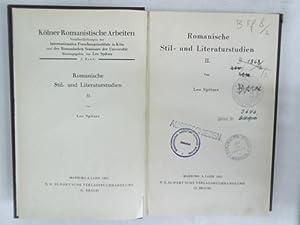 Romanische Stil- und Literaturstudien, 2. Kölner romanistische: Spitzer, Leo,