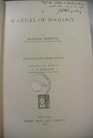 A Manual of Zoology. From the Fifth: Hertwig, Richard and