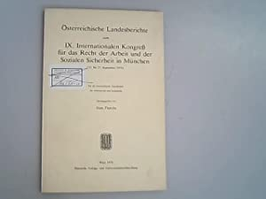 Österreichische Landesberichte zum IX. Internationalen Kongress für: Floretta, Hans,