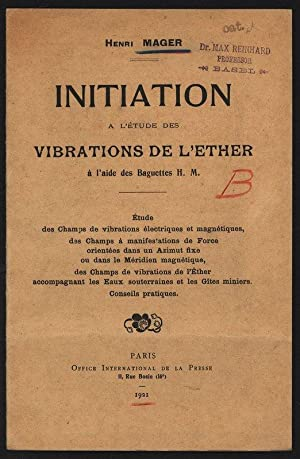 Initiation a l etude des vibrations de: Mager, Henri,