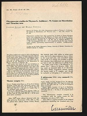 Chrornosorne studies in Thymus L. (Labiatae). VI.: JALAS, Jaakko: