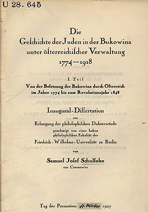 Die Geschichte der Juden in den Bukowina: Schulsohn, Samuel Josef:
