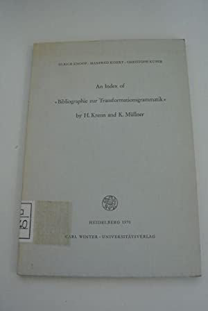An Index of Bibliographie zur Transformationsgrammatik by H. Krenn and K. Müllner