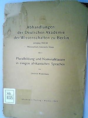 Pluralbildung und Nominalklassen in einigen afrikanischen Sprachen.: Westermann, Diedrich,