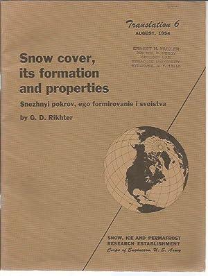 Snow Cover, Its Formation and Properties (Snezhnyi pokrov, ego formirovanie i svoista) Snow, Ice ...