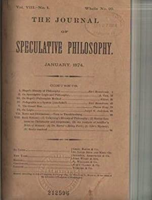 The Journal of Speculative Philosophy, Vol VIII: 1874: Harris, William T. (ed.)