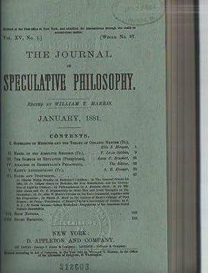 The Journal of Speculative Philosophy, Vol XV: 1881: Harris, William T. (ed.)