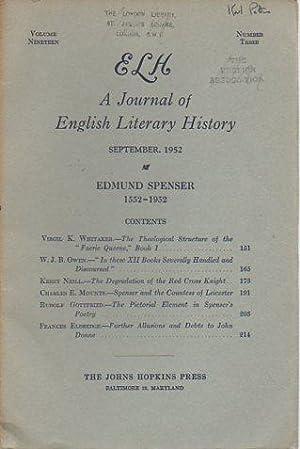 ELH: A Journal of English Literary History 19(2 & 3) June & September, 1952: Edmund Spenser...