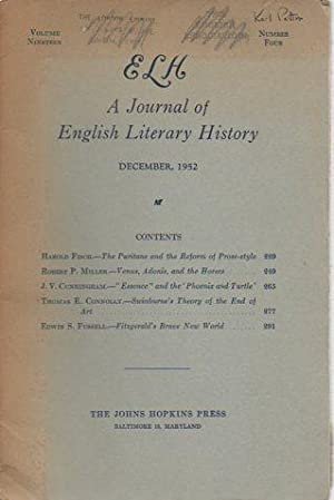 ELH: A Journal of English Literary History 19(4) December, 1952: Norris, Edward T. (ed.)