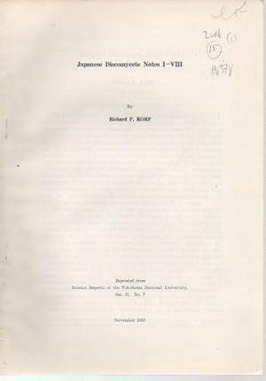 Japanese Discomycetes Notes I-VIII and Notes IX-XVI: Korf, Richard P.