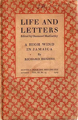 HIGH WIND IN JAMAICA in 'Life and Letters' August 1929, Vol. III, No.15.: Hughes, Richard (...
