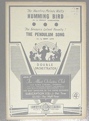 Humming Bird / The Pendulum Song. Sheet: ROBERTSON, Don. WARRINGTON,