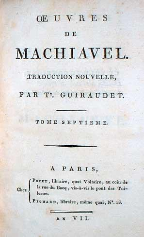 (Works of Machiavelli) Oeuvres De Machiavel.: Machiavelli, Niccolo.